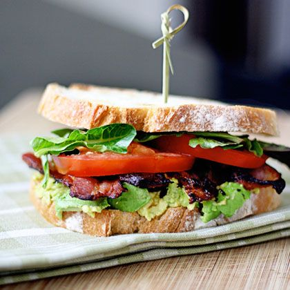 Avocados are in season right now, and bacon's a classic -- make this sandwich NOW!  (Bacon Lettuce Avocado Tomato Sandwich)
