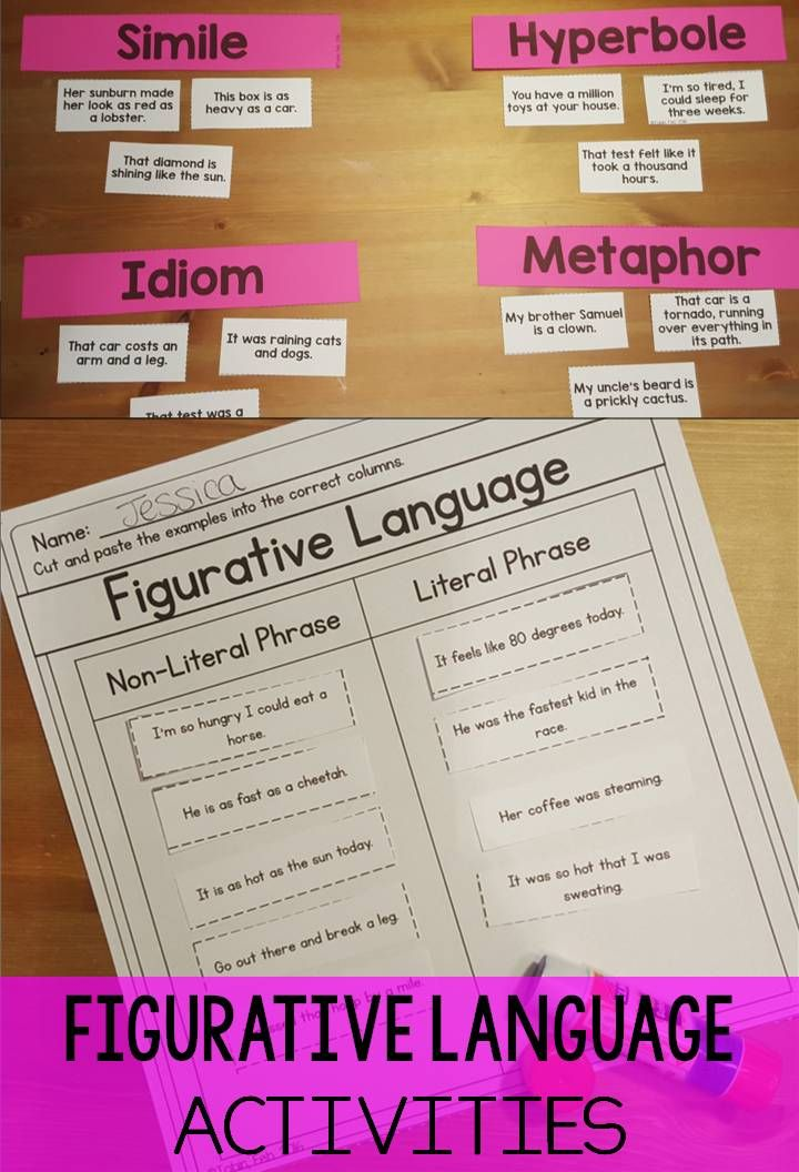 Figurative Language RL34 – Common Core 3rd Grade Worksheets
