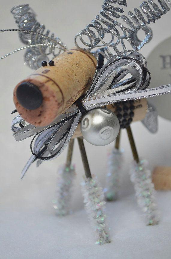 Happy New Year Wine Cork Reindeer Ornament by TheCorkForest