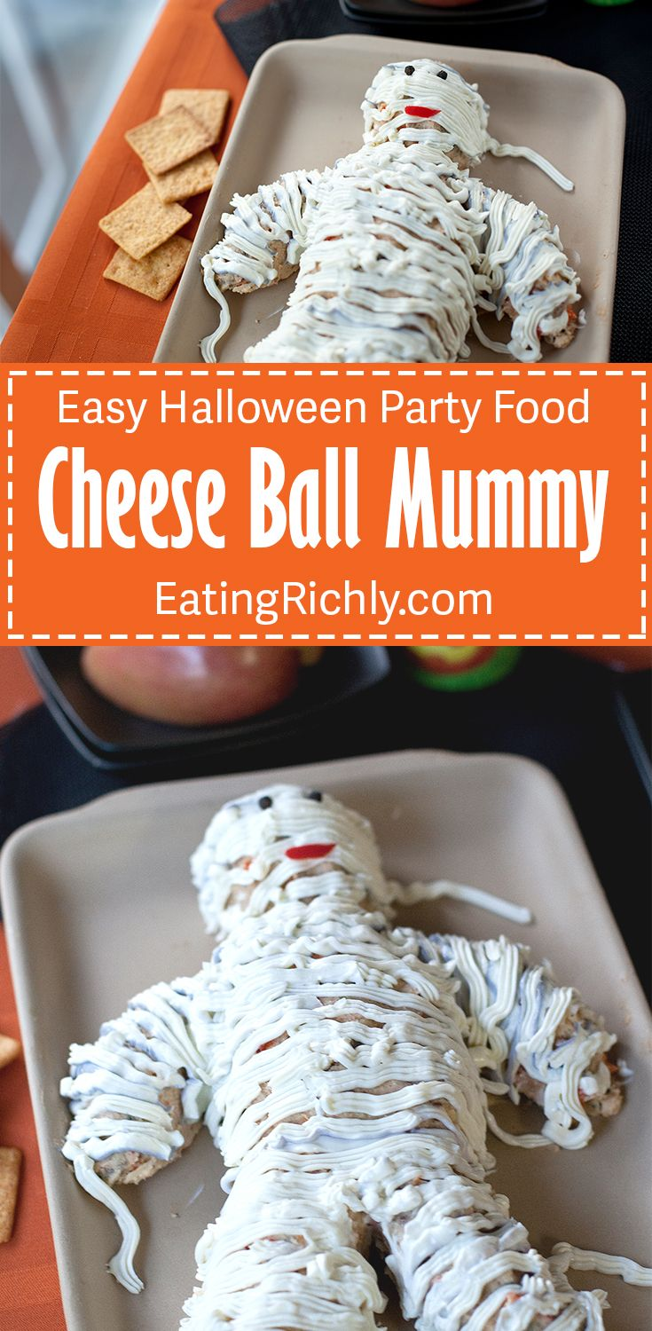 This cute cheese ball mummy is surprisingly easy to make