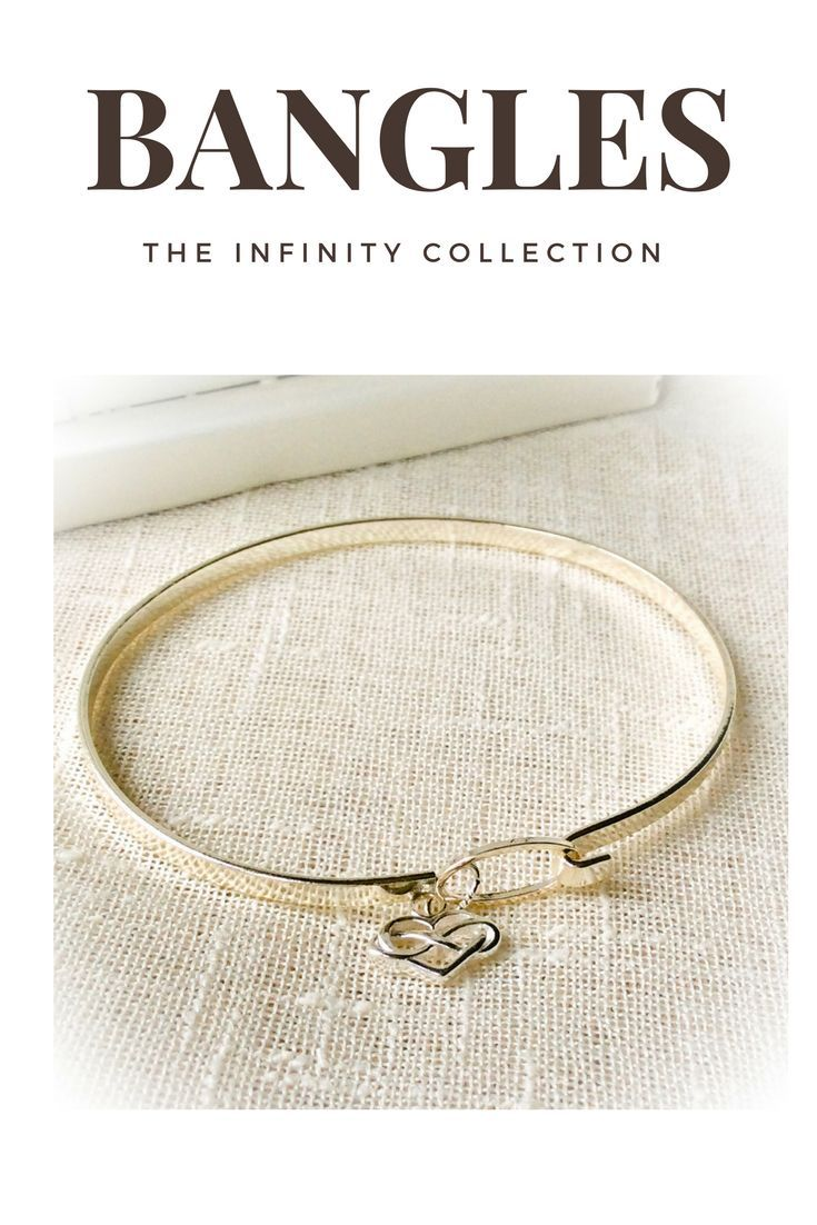 Skinny bracelet bangles featuring a sterling silver infinity heart