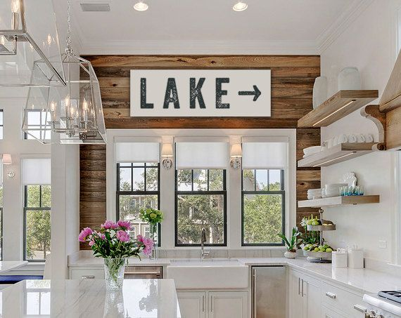 lake sign arrow large canvas lake house decor fixer upper decor joanna gaines vintage look custom sign cabin decor kitchen art - Lake House Interior Design Ideas