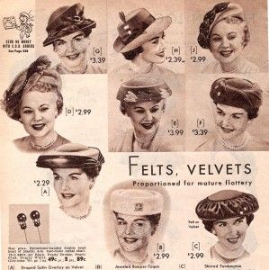 1957 felt hats for mature ladies  1950s  hats ca8db38267d