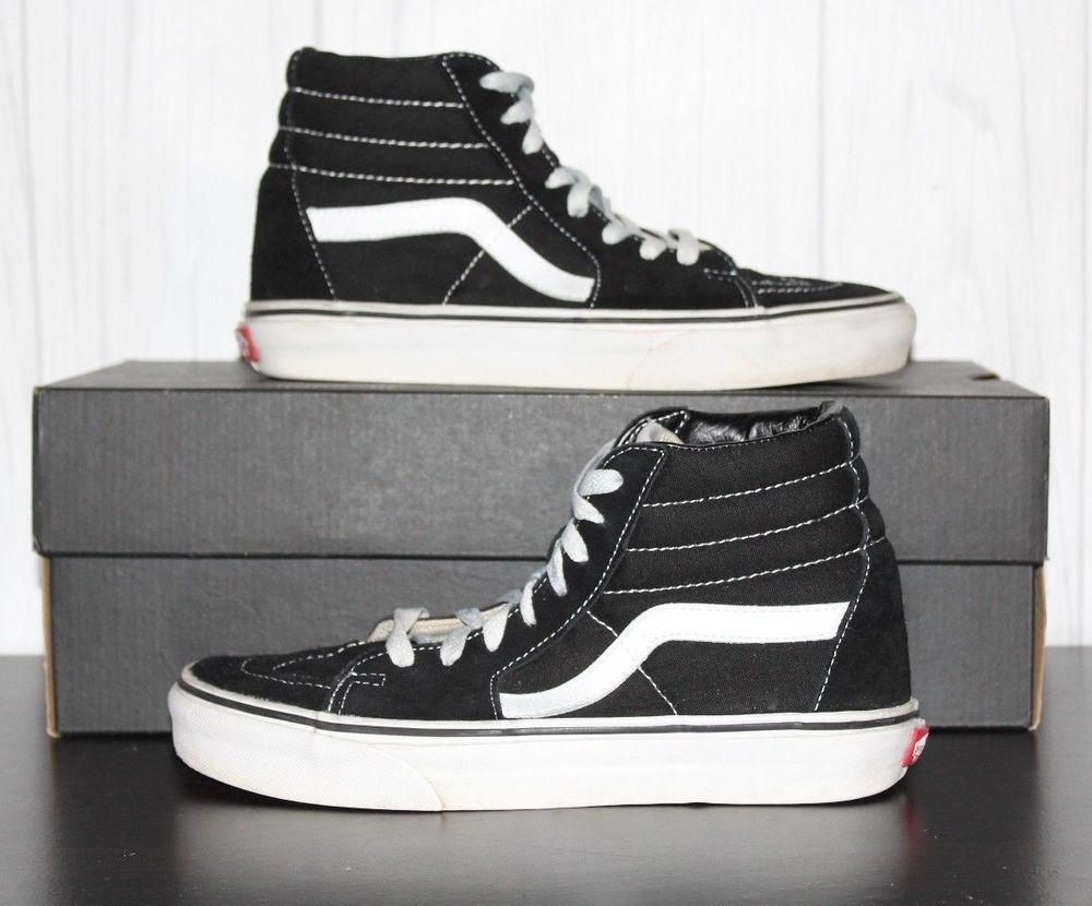 9cc62896f7 VANS Sk8 Hi Classic Black White Canvas Skate Shoes Men s Size 6.5 Women s 8   VANS  Skateboarding