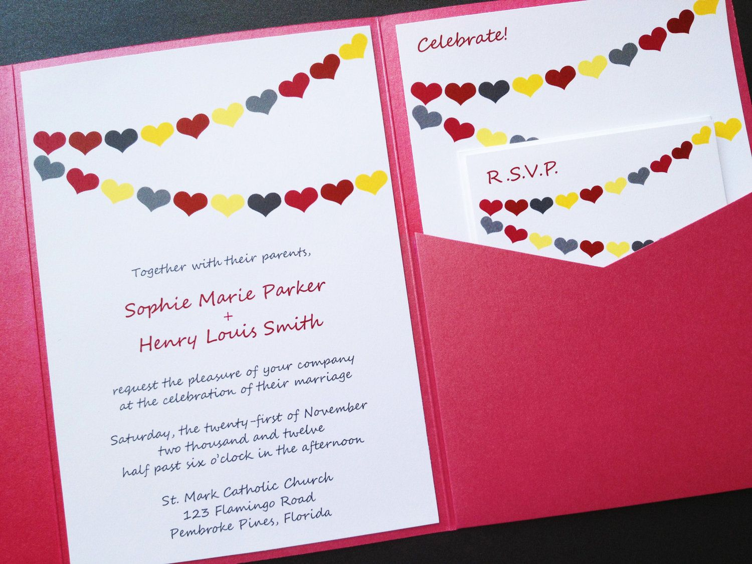 Wedding Invitation - Hearts Banner Signature Pocketfold Wedding ...