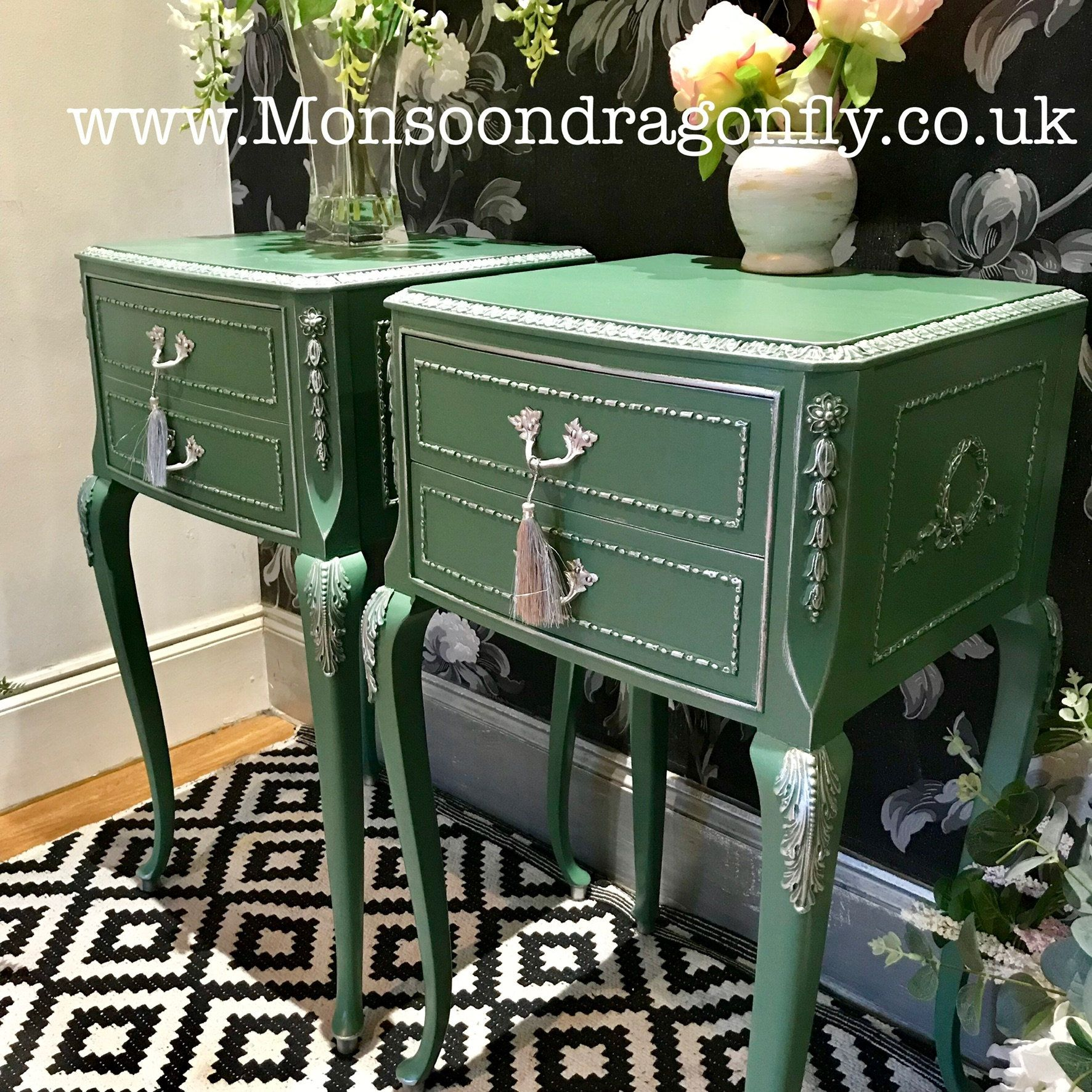 Stunning French Olympus Louis Style Pair Bedside Cabinets Tables In Lovely Green Matching Chest Also Listed Green Painted Furniture Bedside Cabinet Pair Of Bedside Tables