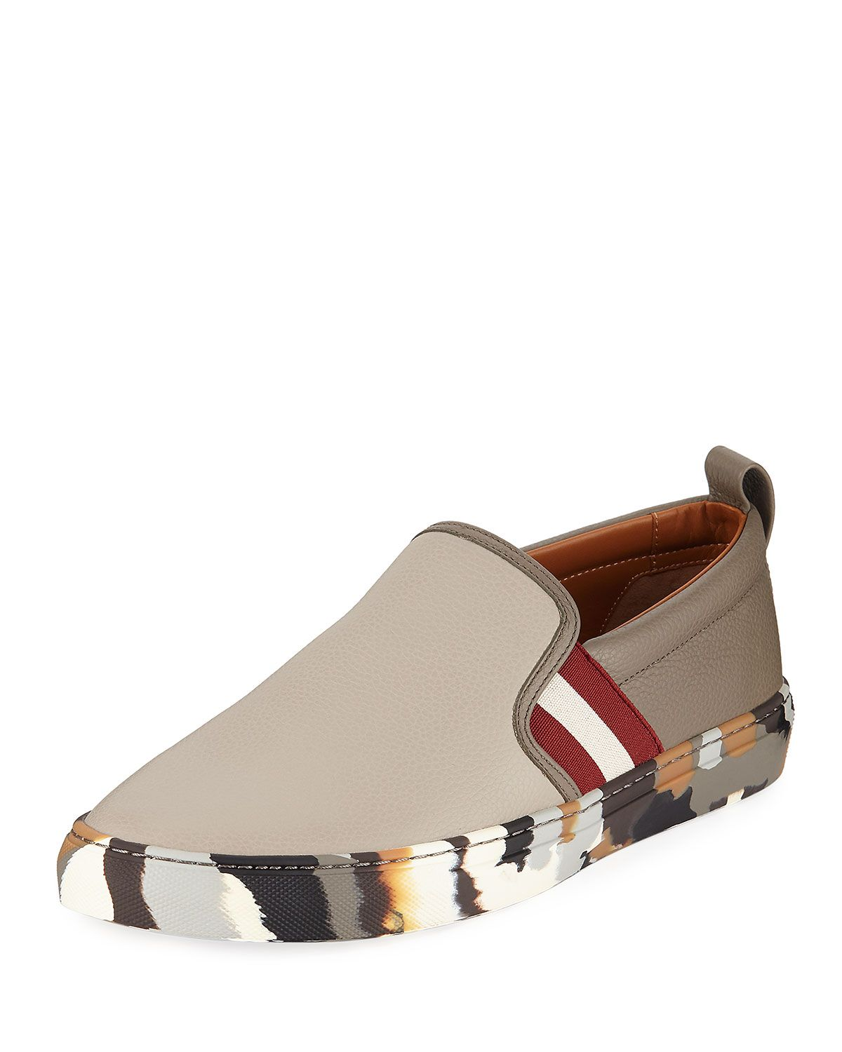 BALLY HERALD LEATHER SLIP-ON SNEAKERS