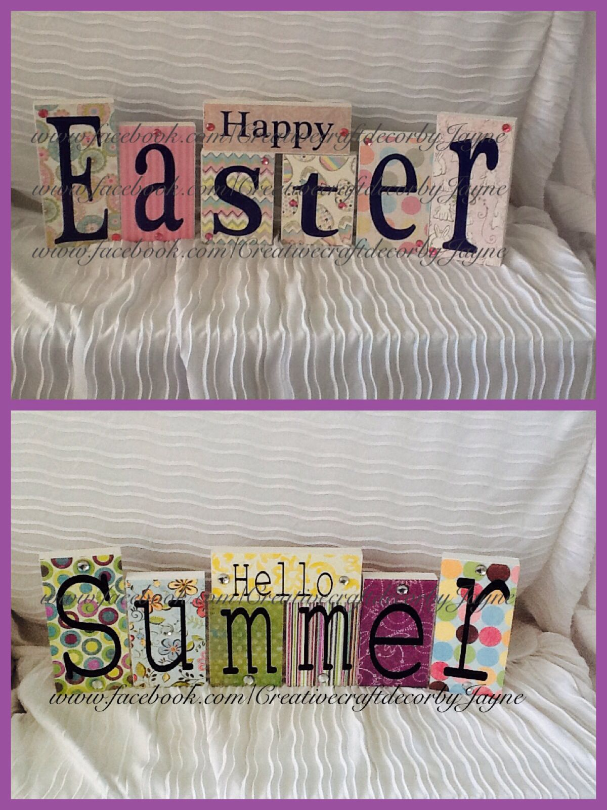 Love the two sided Easter blocks by: http://www.facebook.com/CreativecraftdecorbyJayne?ref=hl