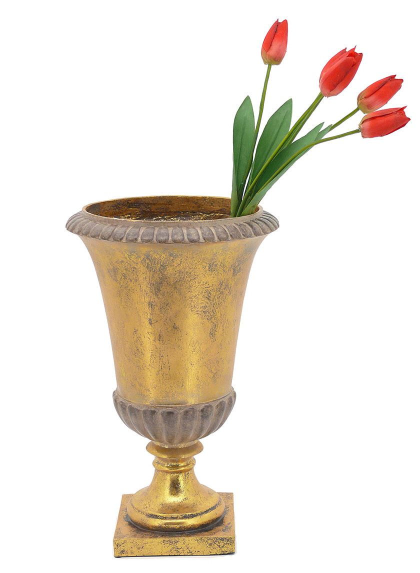14in 17 34in gold urns pascales wedding pinterest add a luxurious touch to your floral arrangements wedding and event centerpieces with our gold leaf polyresin urns an antiqued finish adds to the classic reviewsmspy