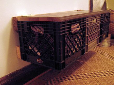 Charlie Vinz In Chicago Built This Cool Cantilevered Milk Crate Bench With  A Hinged Wooden