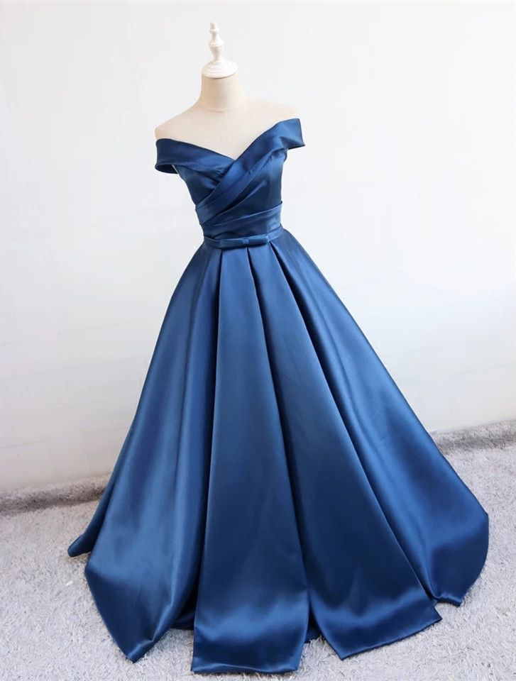 71f8c8cafd navy blue satin v neck ball gown prom dresses 2018 off the shoulder evening  gowns