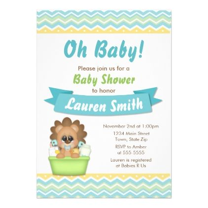 Lion Baby Shower Invitation Blue Baby Boy Lion invitations