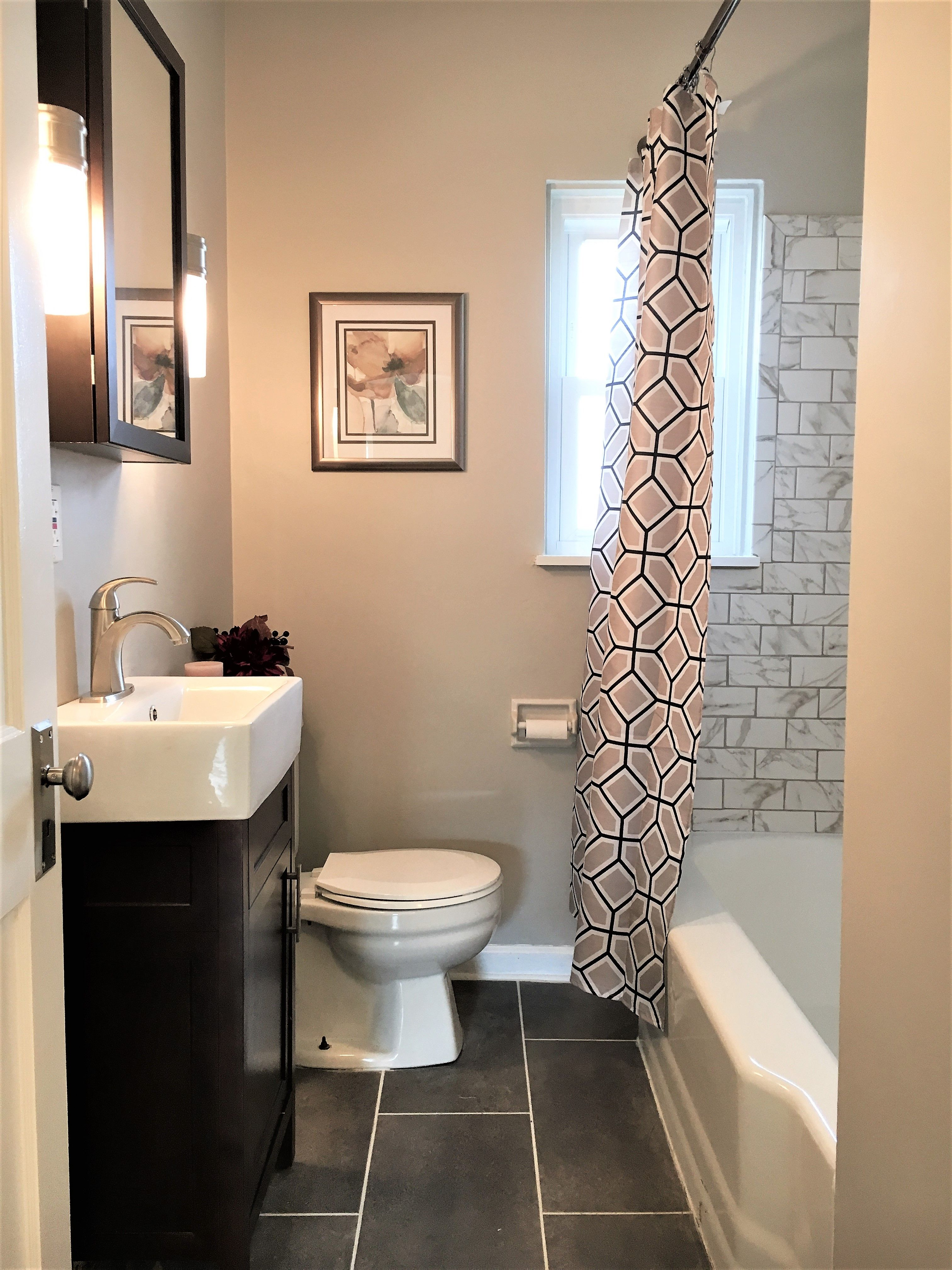 Beau Contemporary Full Bath Remodel By BlankSpace LLC, Pittsburgh PA.  Marble Look Porcelain Subway Tile Tub/Shower Surround On Refinished Cast  Iron Tub; ...