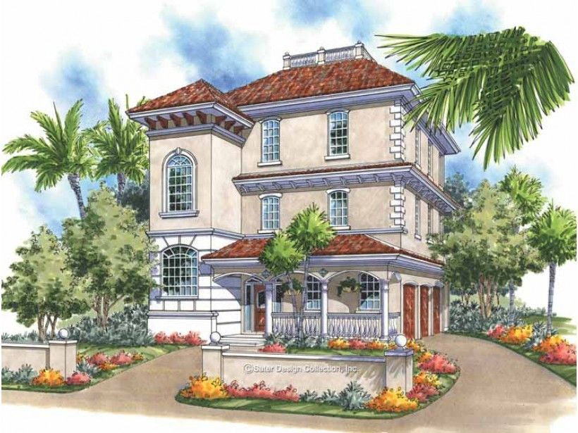 Eplans House Plan: A stately tower adds a sense of grandeur to cool, contemporary high-pitched  rooflines on this dreamy Mediterranean-style villa. Surrounded by outdoor  views, the living space extends to a veranda through t