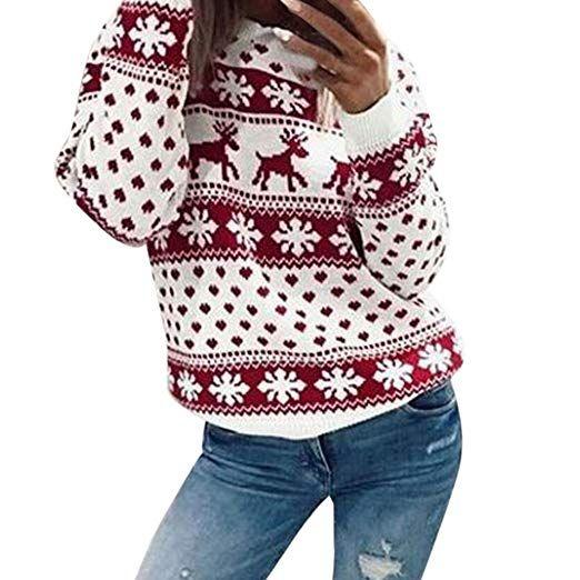 d0716bb6a5  Vêtements  LILICAT  Flocon de  neige de Noël  couture beau  pull à   capuche pull pull pull à capuche (Red