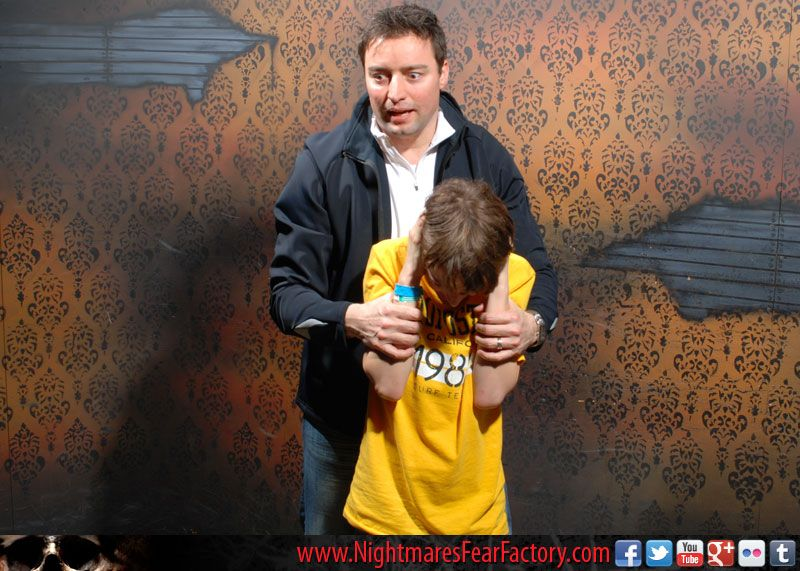 a father & son moment at nightmares fear factory!