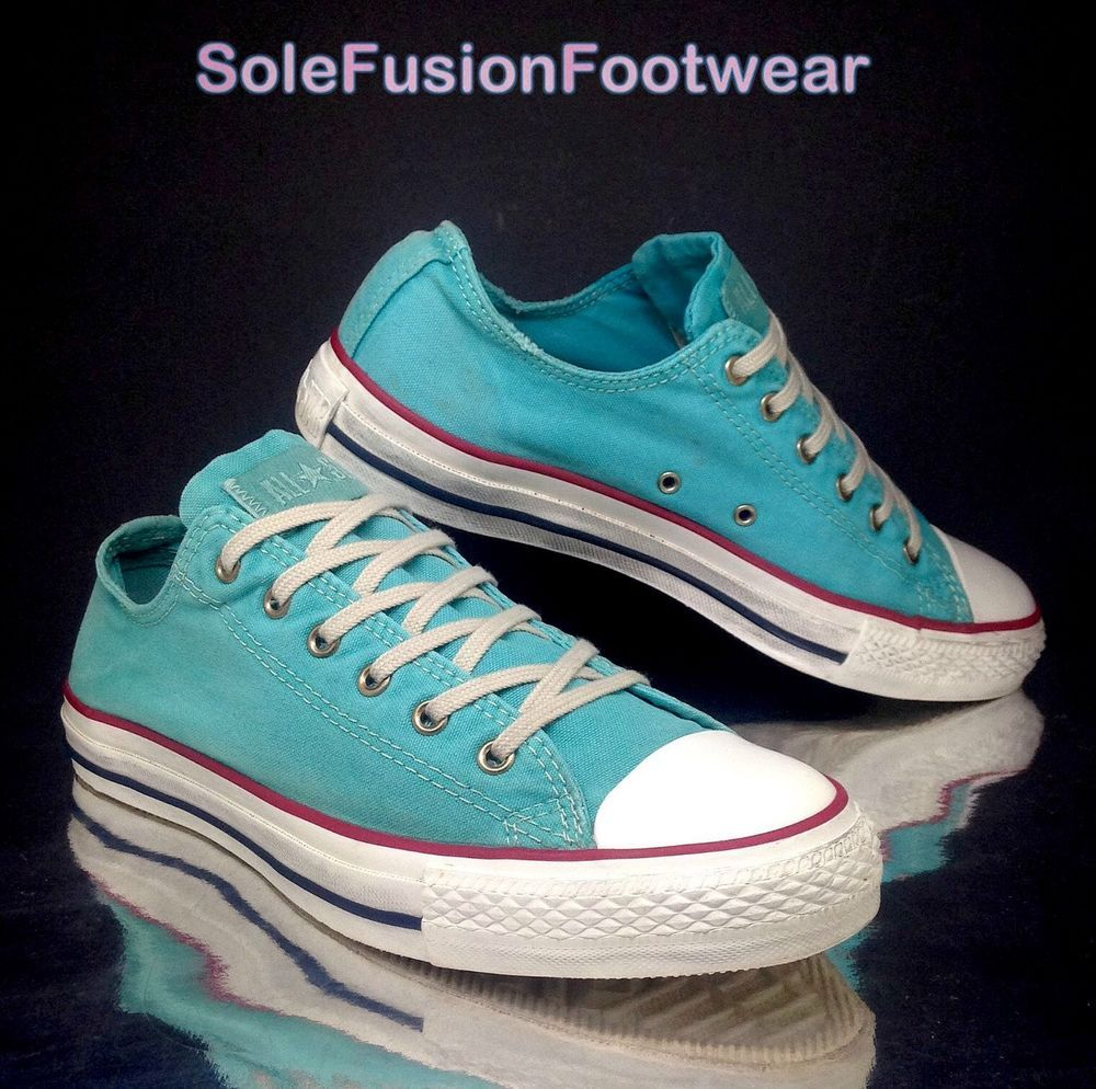 4e299902d858 Converse Womens All Star Washed Shoes size 6 Turquoise Trainers Pumps US 8  EU 39