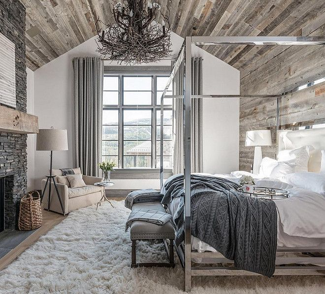 Bedroom With Reclaimed Wood Ceiling And Reclaimed Wood Accent Wall Reclaimed Wood Ceilin Farmhouse Style Master Bedroom Rustic Master Bedroom Remodel Bedroom