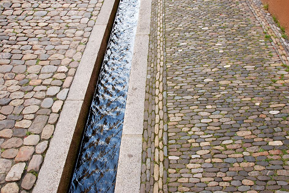 Bächle in Freiburg: small canals carrying water of the river Dreisam have been running through city centre of Freiburg (am Breisgau) since the Middle Ages.