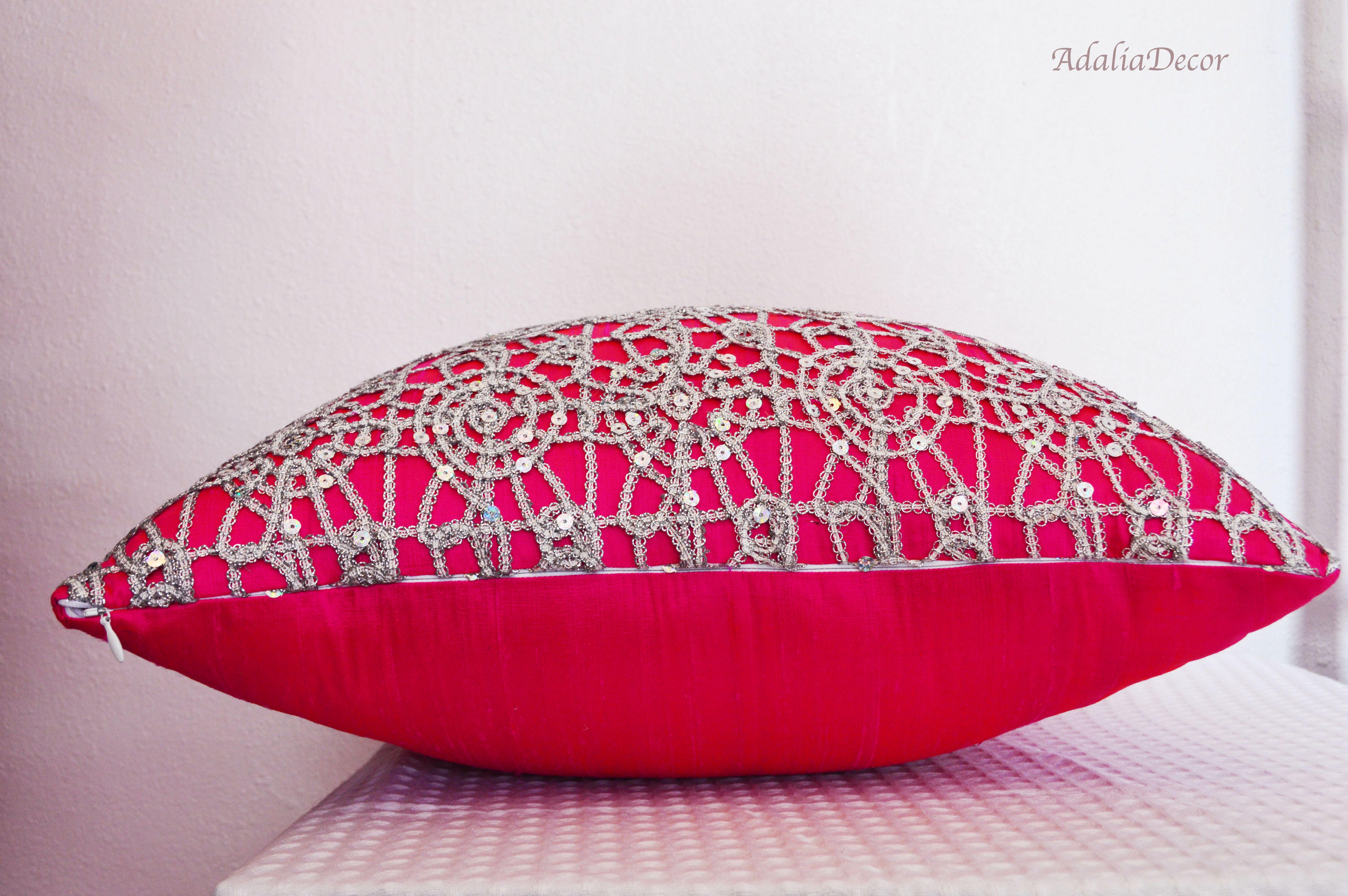 "Pink Pillow. Pink Silk Pillow. Lace Pillow 20 x 20""  Victorian Lace Pillow. Handmade. #Home #DecorativePillows #ThrowPillows #AccentPillows #Homedecor #Housewares #Pillowcovers #Design #Homedesign #Art #FunctionalArt #FamilyRoom #DesignerPillows #BedPillow #CouchPillow #BeautifulHome #PillowCover #Pinkpillow #Pinkdecorativepillow #pinkhomedecor #pink #fuchsia #lightpink #lightpinkdecor #victoriandecor #pearl"