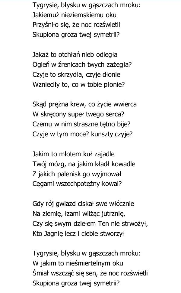 Tygrys William Blake Poezja Poezja