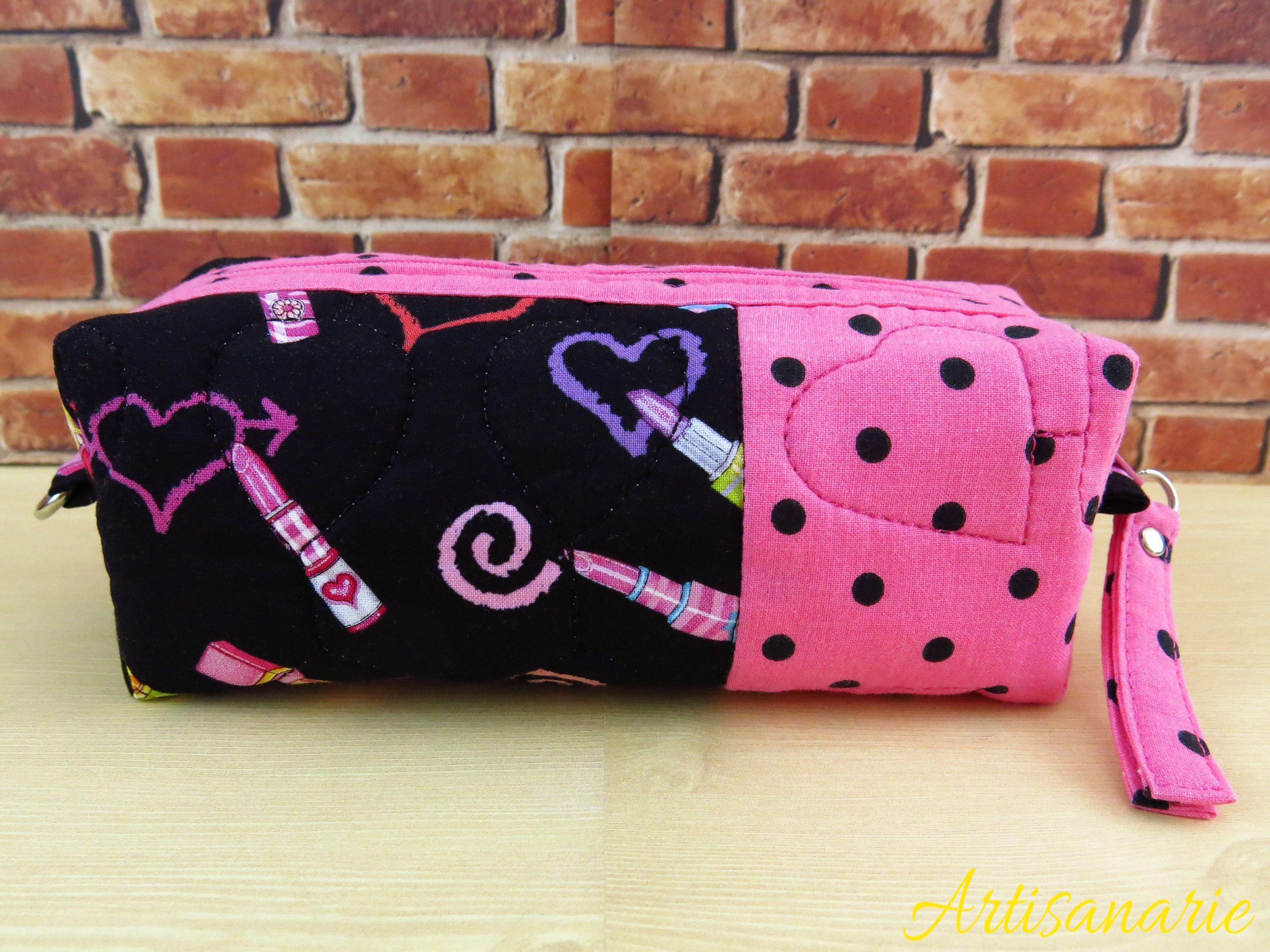 Boxy Cosmetic Bag Medium Quilted Toiletry Lipsticks Pencil Case Kids