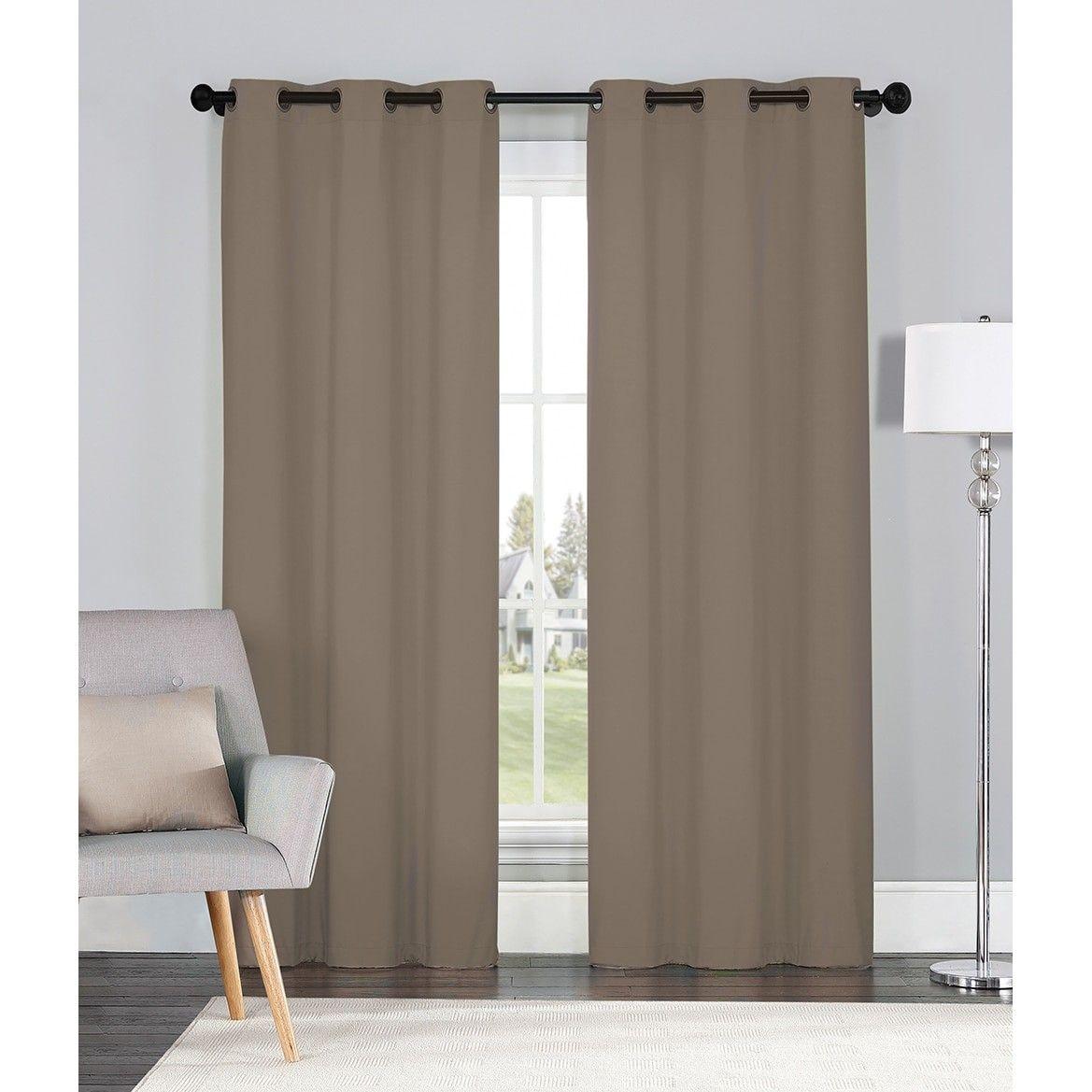 2 Blackout Room Darkening Window Curtains Taupe Embossed Trellis Panel Pair