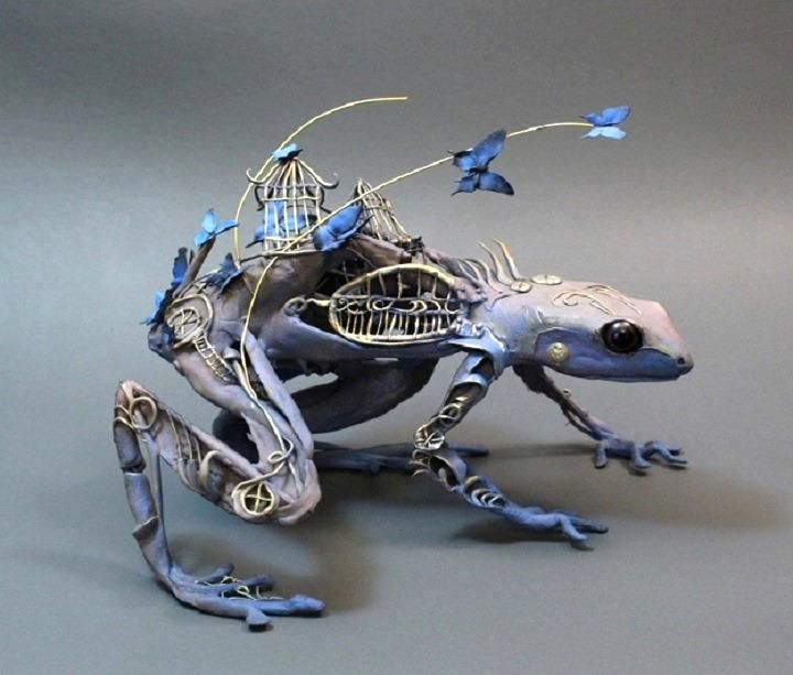 Fantasy Whimsical Strange Mythical Creative Creatures - Surreal animal plant sculptures ellen jewett
