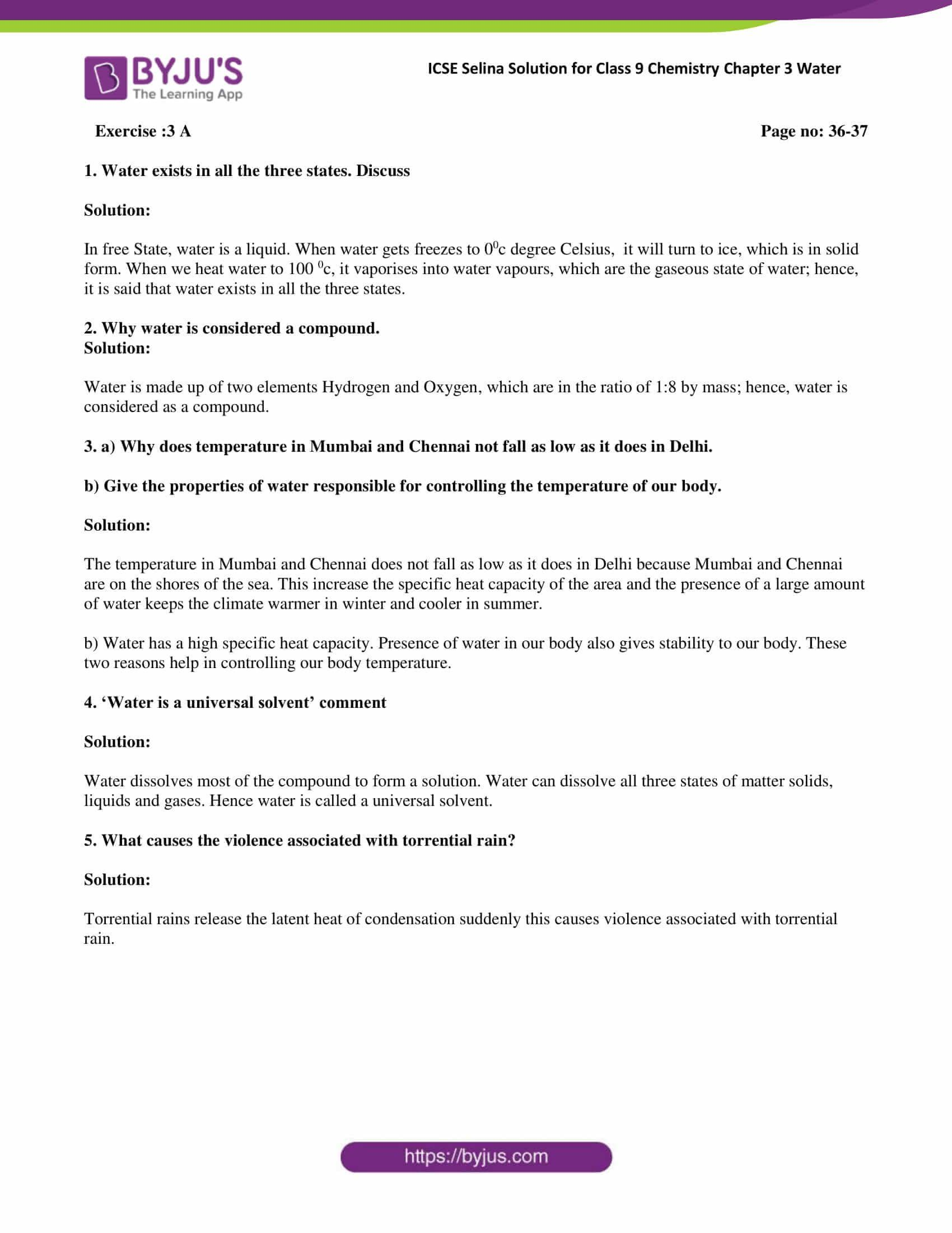 Properties Of Water Worksheet Answers Selina Solutions Class 9 Concise Chemistry Chapter 3 Water In 2020 Worksheets Radical Equations Answers