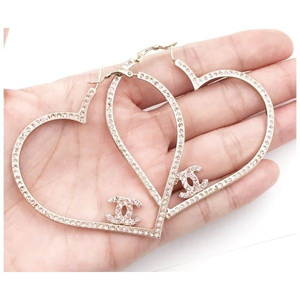 3ce406fe4 Pre-owned Chanel Gold Heart Pink Crystal Hoop Piercing Earrings ($919) ❤  liked