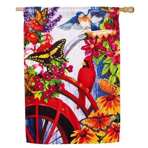 Bouquet Bike House Flag Spring Flags Seasons House Flags Outdoor Flags Garden Flags