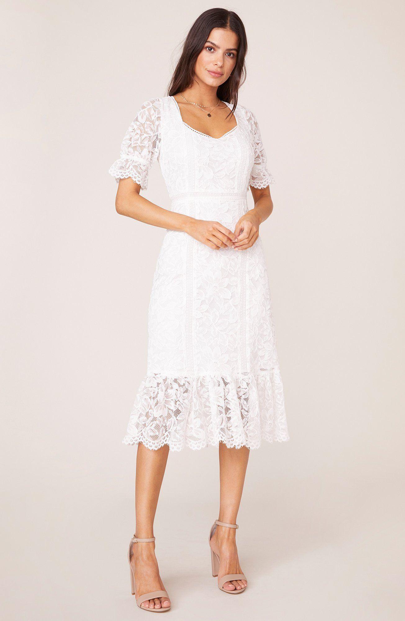 Just In Lace Midi Dress Bb Dakota Modest White Dress Lace White Dress Dresses [ 2000 x 1305 Pixel ]