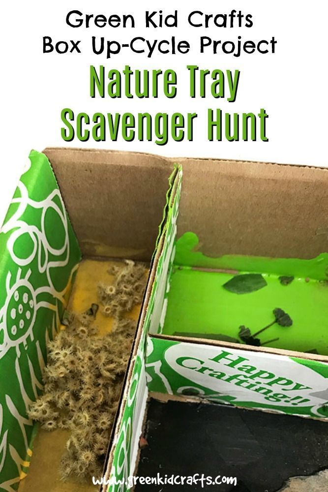 Reuse a Green Kid Crafts Box Nature Scavenger Hunt is part of Kids Crafts Recycled Materials - Here's a great idea for getting the most out of your monthly Discovery Box from Green Kid Crafts! We're upcycling our cardboard box into a nature tray for a scavenger hunt
