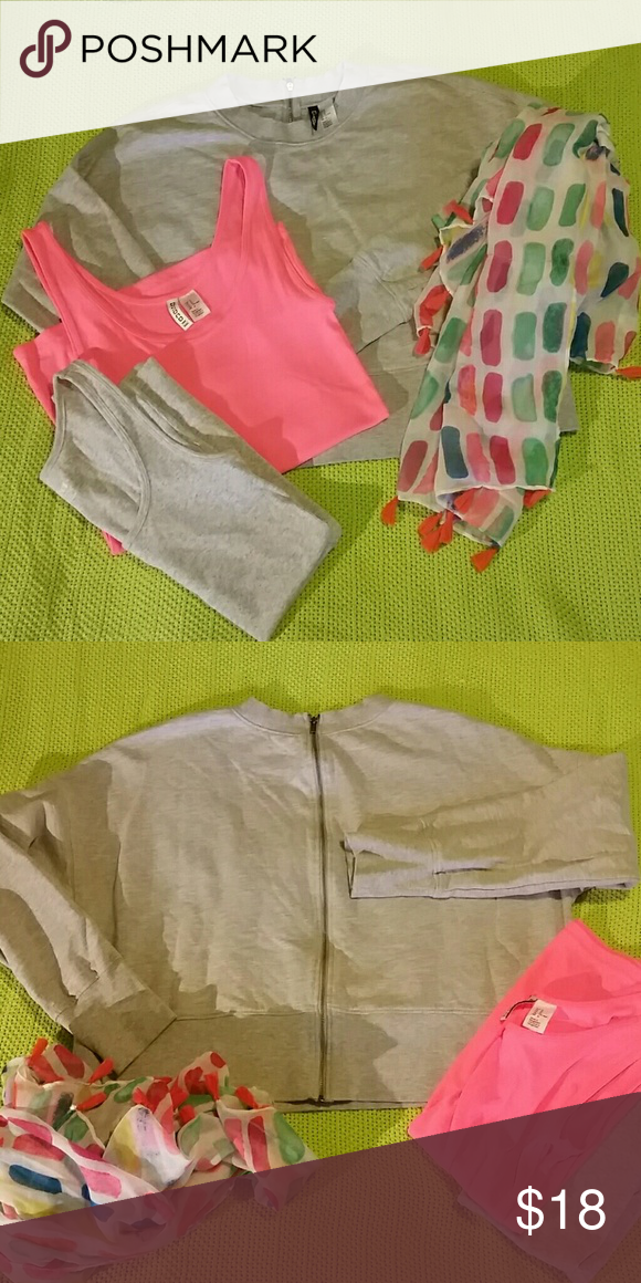 Gray HM Old Navy Scarf Lot Gray H&M divided cropped sweatshirt with back zipper Size M  Gray Old Navy tank Size M  Pink H&M divided tank Size M  Print Scarf with tassels!   Being sold as a lot! Don't like my price? Submit an offer! Check out my other lots! H&M Tops Sweatshirts & Hoodies