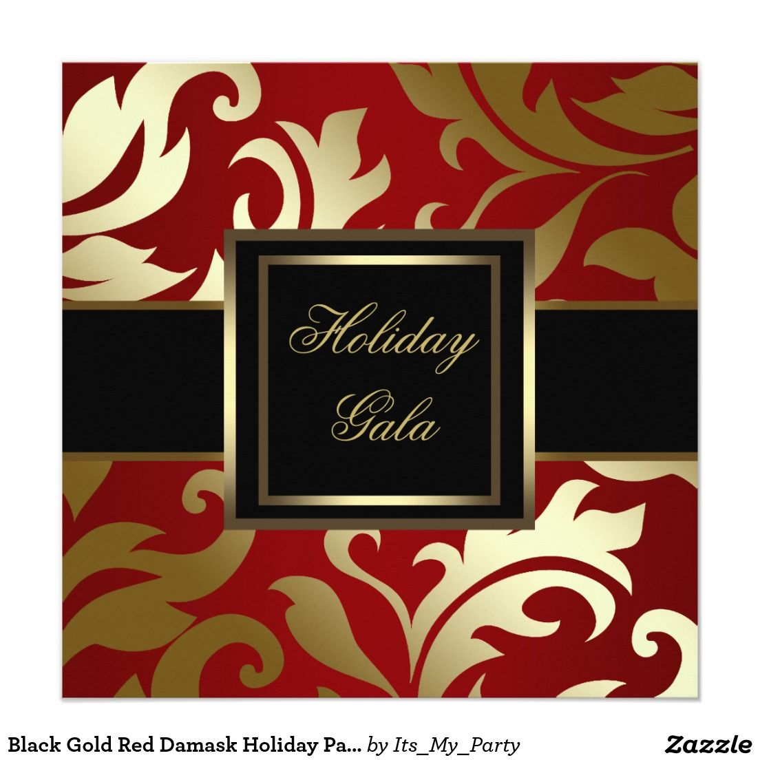 Black Gold Red Damask Holiday Party Invitations | Holiday party ...