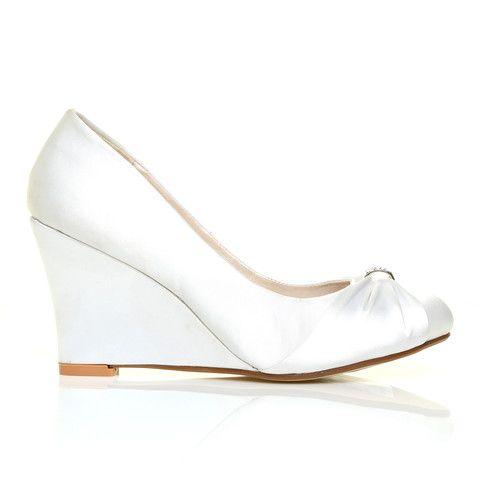 EDEN White Satin Wedge High Heel Bridal Court Shoes