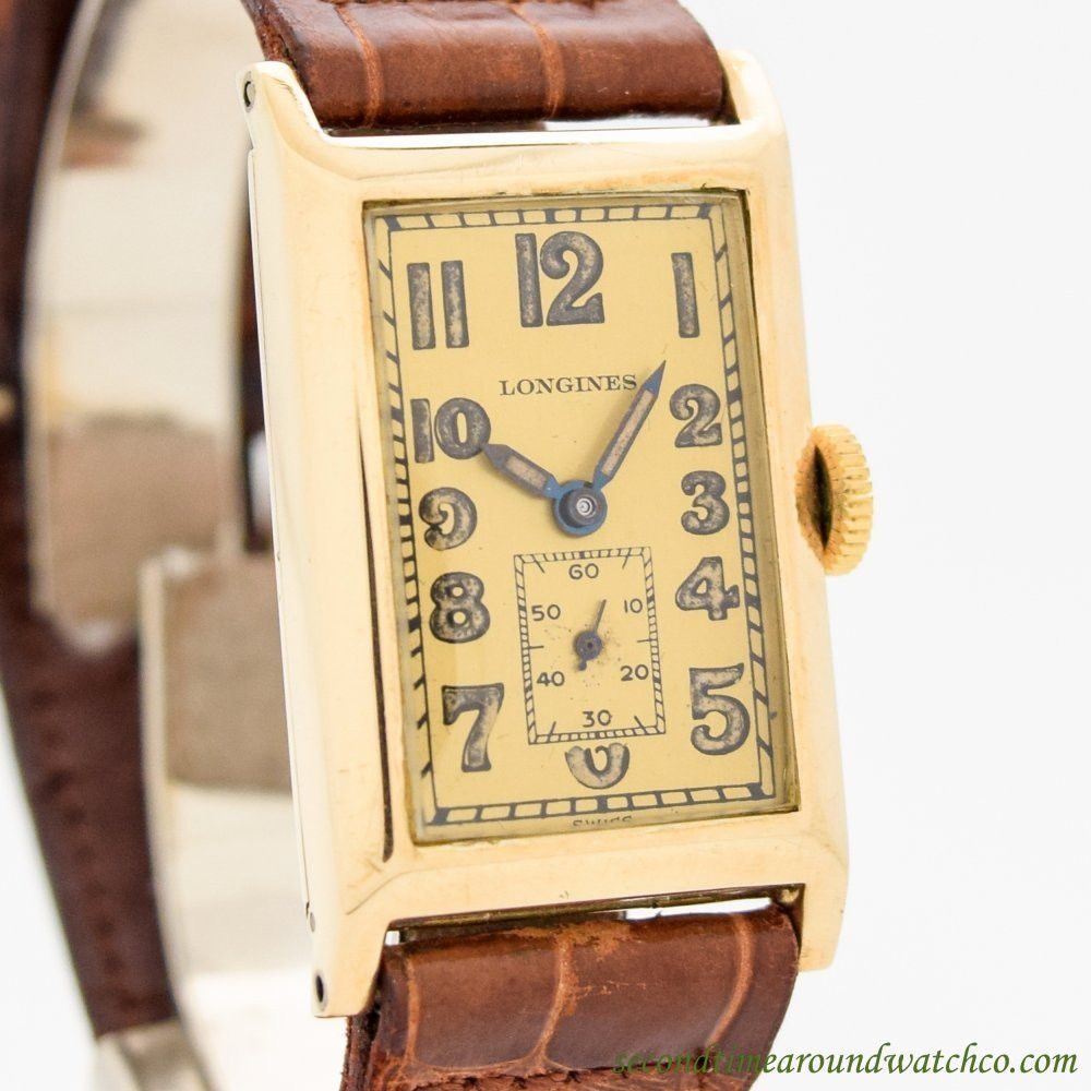 1925 Vintage Longines Rectangular Shaped 14k Yellow Gold Watch Longines Vintage Watches Beautiful Watches