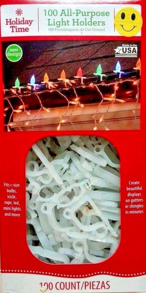 christmas light clips 100 holders holiday light decor house roof gutter new holidaytime
