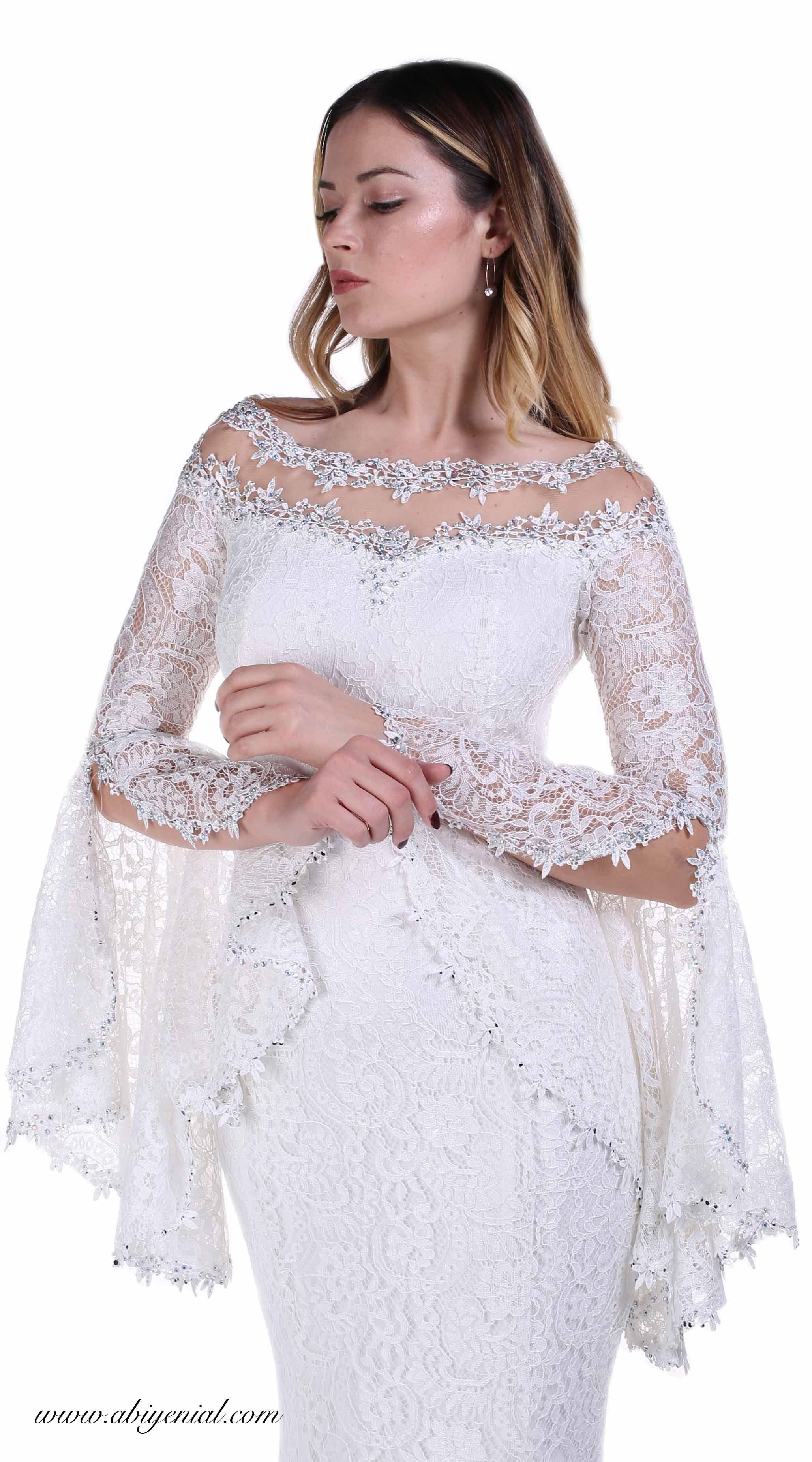 9fc61233f247d Dantel Balık Abiye Elbise, Volan Kollu, Nikah Abiyesi #nikah #beyaz #sade #  uzun #balıkabiye #dantelli #2018 #2019 #romantik #ekru #krem #bride  #weeding ...
