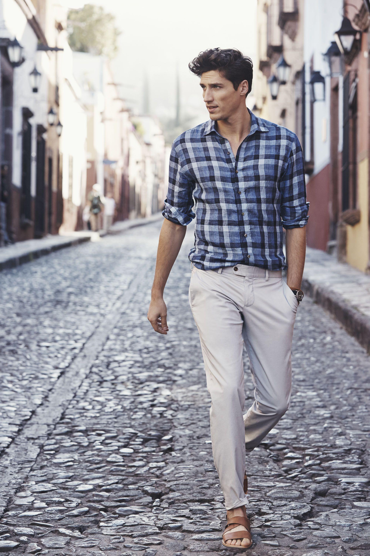 Spring Summer 16 Mens Linen Shirting Linen Shirt Men Mens Outfits Plaid Shirt Men [ 3000 x 2000 Pixel ]