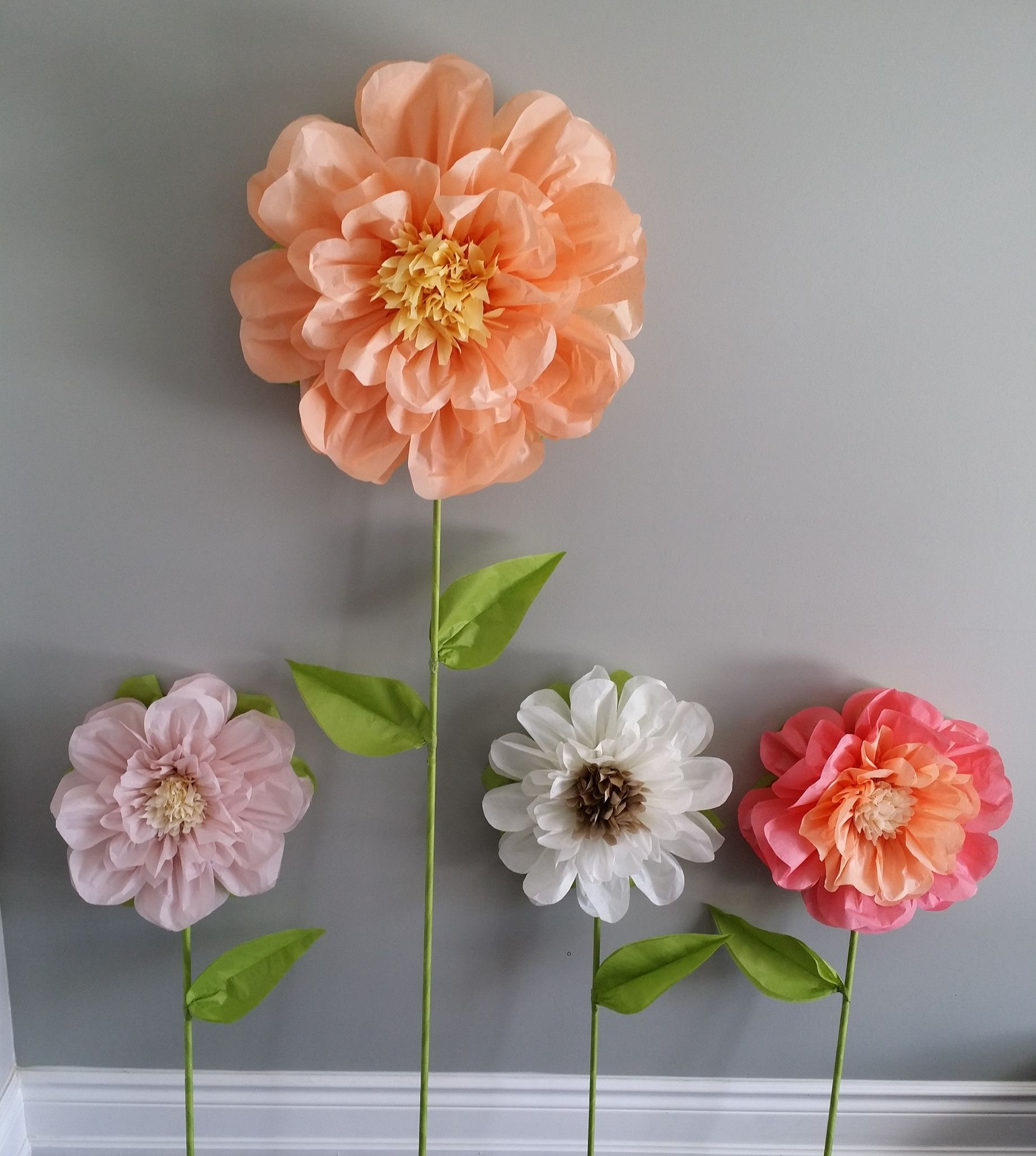 One Of A Kind Free Standing Tissue Paper Flowers Handmade Using