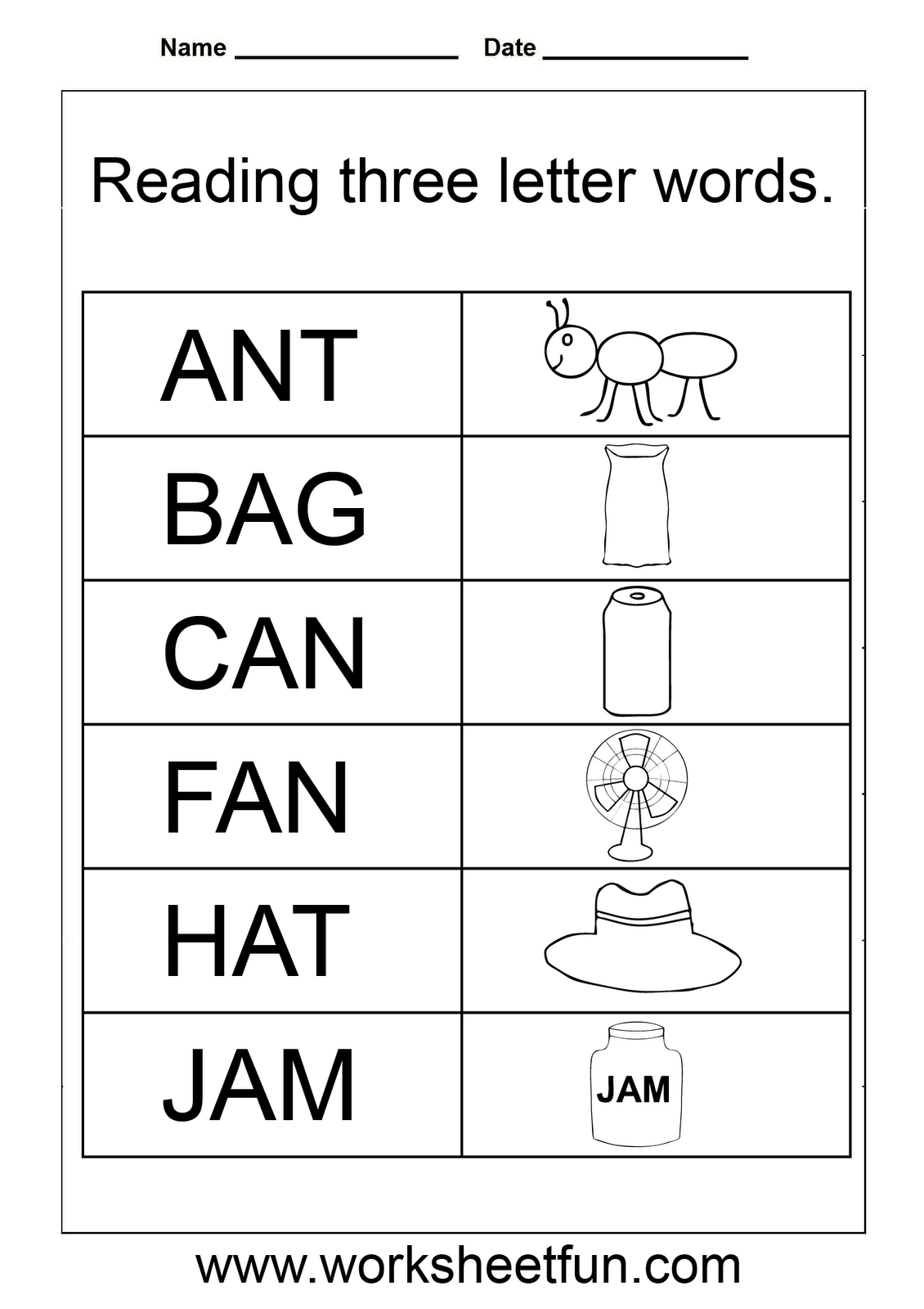 3 3 Letter Words Reading Worksheets In