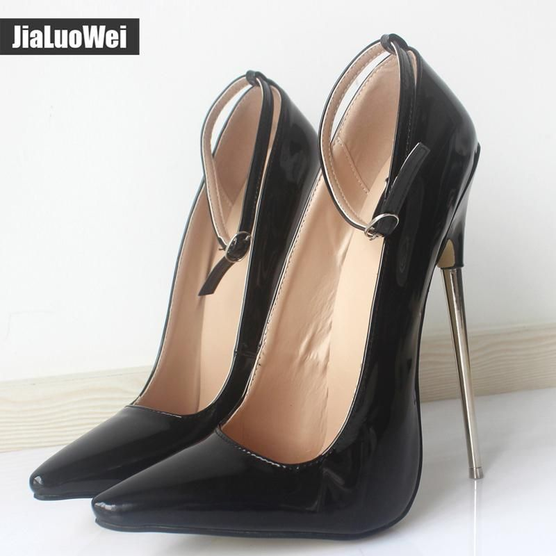 e57d9a91686f5 Womens Pointed Toe Stilettos 18Cm High Heels Ankle Strap Buckle Party Shoes
