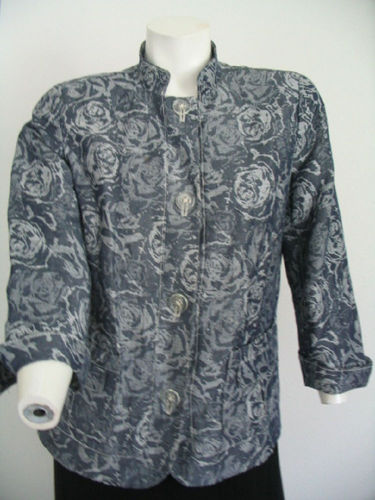 Womens Linen Jacket Size 8 Blue Gray Floral Net Lined 3/4 Sleeves #ColdwaterCreek #BasicJacket