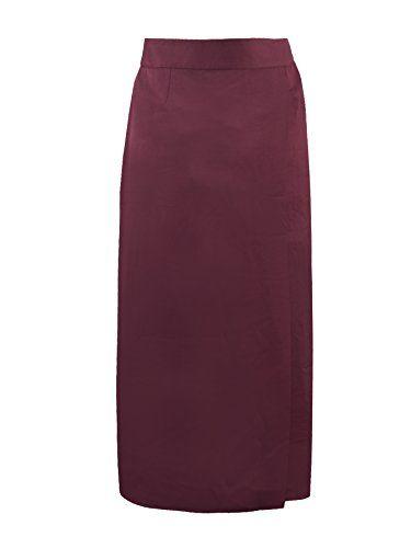 9d545ac24ab9e MSREAD Womens Overlap Long Skirt 22 Maroon     Visit the image link more  details.