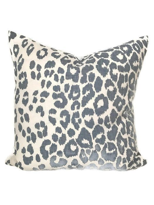 Schumacher Iconic Leopard Pillow Cover In Sky Blue Animal Print Mesmerizing Cheetah Print Decorative Pillows