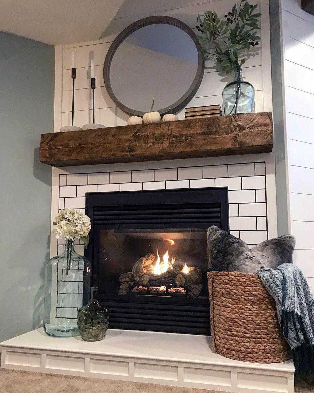 32 Popular Modern Farmhouse Fireplace Ideas Trend 2020 Farmhouse Fireplace Decor Corner Fireplace Decor Rustic Farmhouse Fireplace