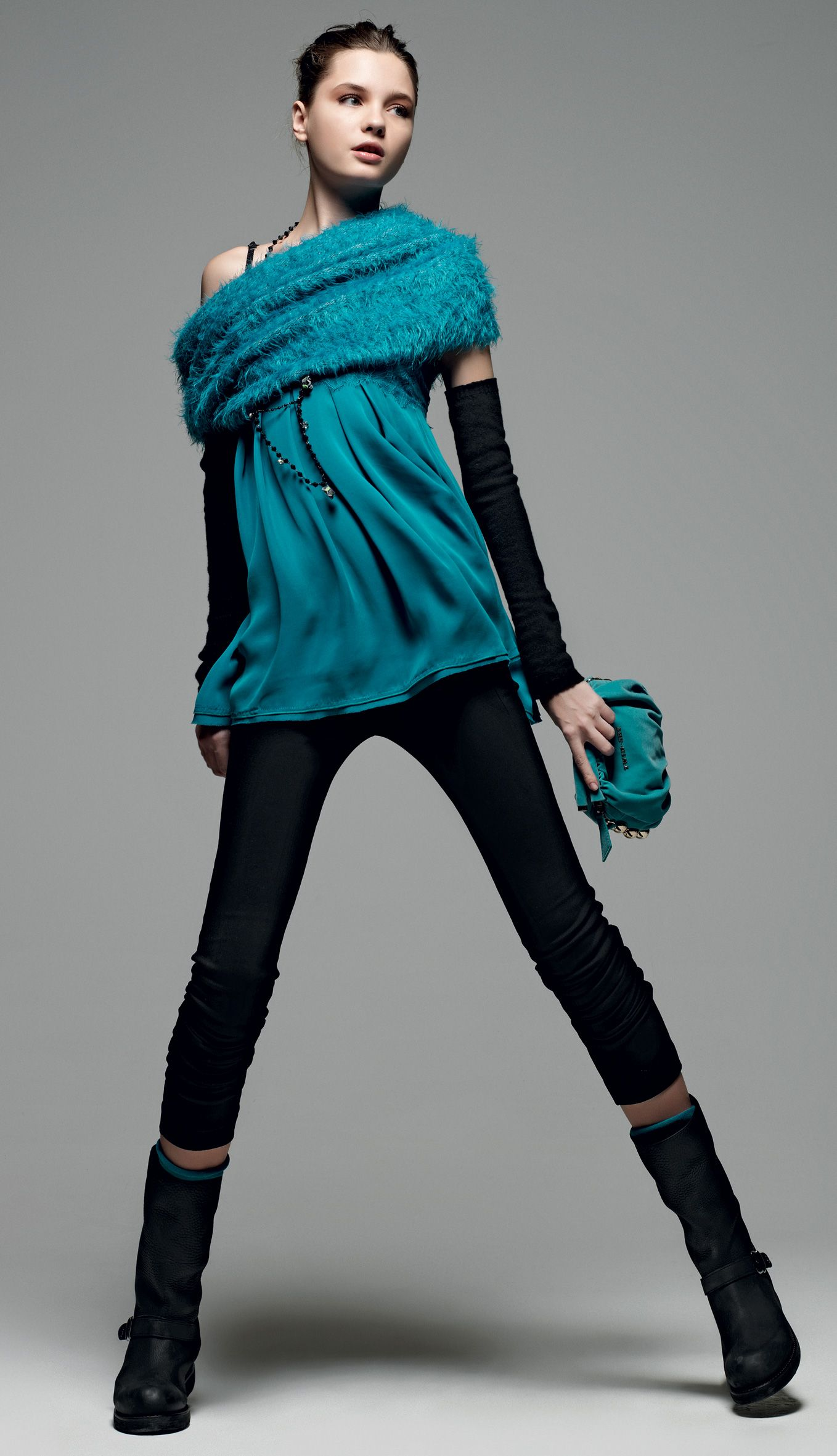 Twin Set Simona Barbieri Shocking Atmospheres Collar Top Blue Gloves Black Skinny Trousers Clutch Bag With Chain Handle And Biker Boot Strap