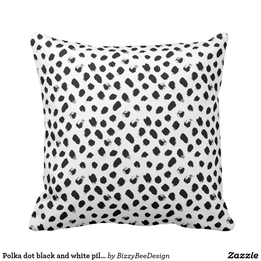 Black & White Abstract Polka Dot Pattern Throw Pillow
