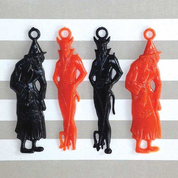 Devil and Skeleton Witch Lot of 3 Vintage Halloween Plastic Charms
